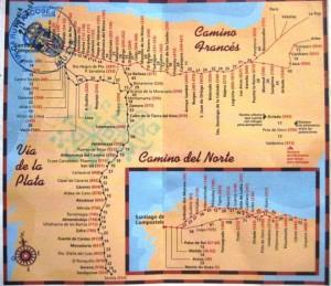 El Camino Frances de Santiago de Compostela, El Camino del Norte si Via de la Plata